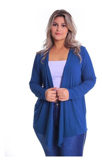 Cardigan Com Bico Pluz Size Casaco De Malha Blusa Feminino