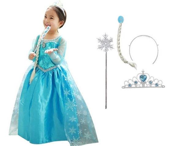 Vestido Frozen Infantil Elsa Vestido Coroa Varinha E Trança