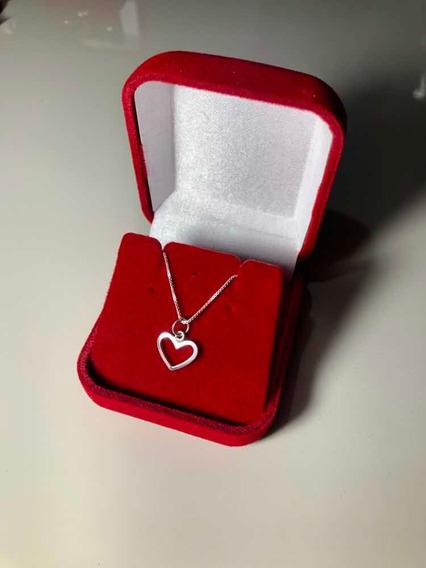 Cordão Corrente Prata 925 Pingente Coração Barato Original