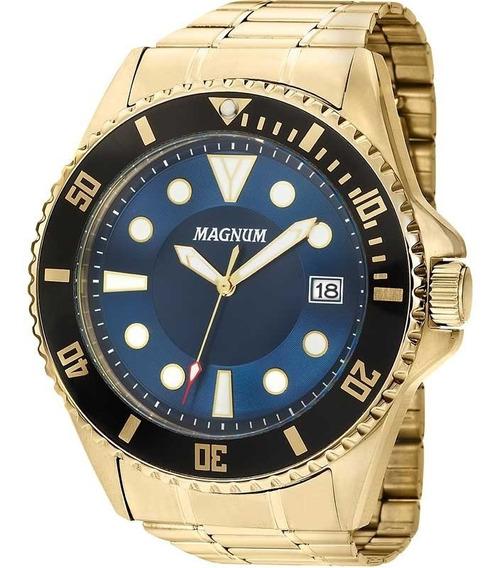 Relógio Magnum Masculino Ma33059a Dourado Azul Aço