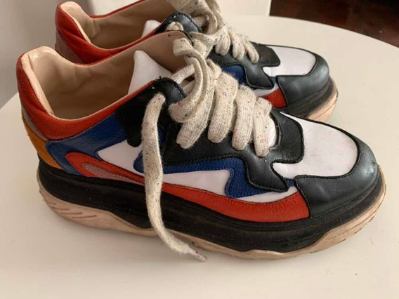Zapatillas Sneakers Mujer Talle 39 Blancas Combinadas