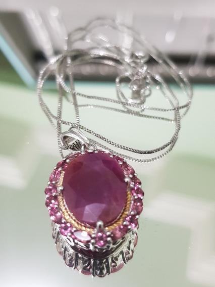 Rubi E Turmalinas Rosa - Medalhão Persa