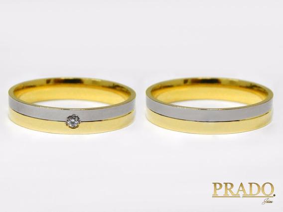 Par De Alianças Ouro 18k Com Diamante Bodas Ouro Branco