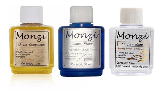Kit Limpa Prata + Limpa Chapeado +limpa Joia Monzi 35ml Cada