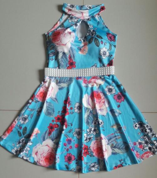 Vestido Curto Princesa Boneca Floral Decote Gota Com Bojo