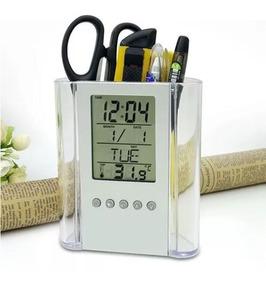 Porta Caneta Com Relógio Temperatura Despertador Calendário