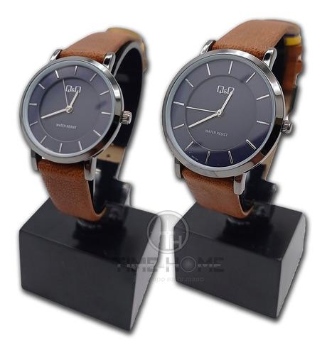 Relojes Parejas Q&q Cuero 100% Originales Garantía + Envío