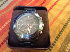 Relógio Fossil Com Cronometro Azul Anodizado