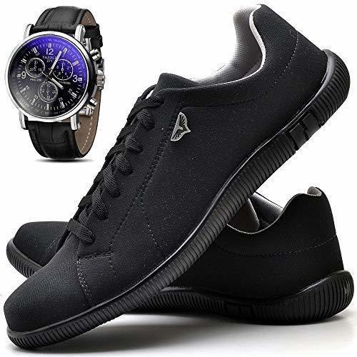 Top- Sapato Casual Masculino Com Relógio [ Brinde]