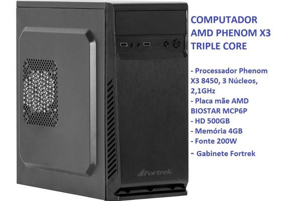 Computador, Cpu, Amd Phenom X3 8450, Hd 500gb, Memória 4gb