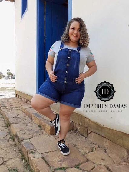 Jardineira Meia Coxa Jeans Com Lycra Feminino Plus Size Gg