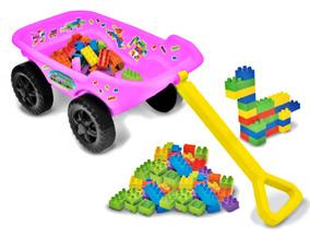 Brinquedo Carrinho De Puxar Infantil Rosa Monta Blocos