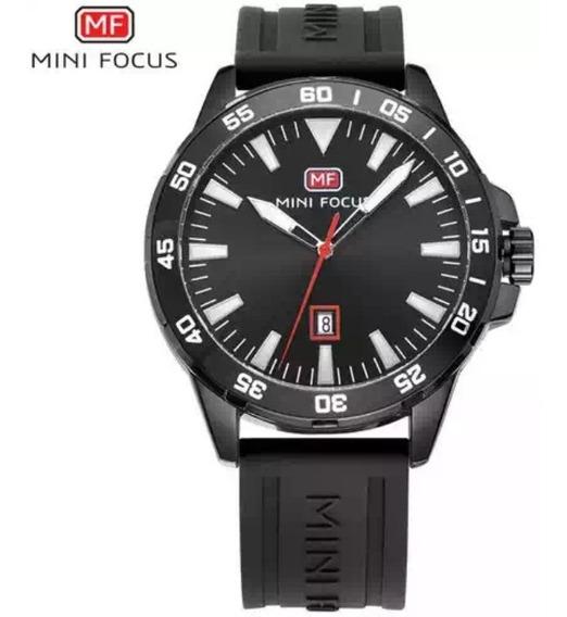 Relógio Minifocus 0020g Pulseira Silicone Masculino.