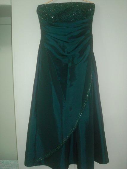 Vestido Bordado De Festa Longo De Tafetá Verde Escuro