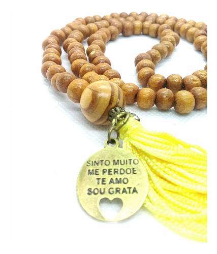 Imagem 1 de 6 de Japamala 108 Contas Madeira Ho Oponopono Ouro Velho  Amarelo
