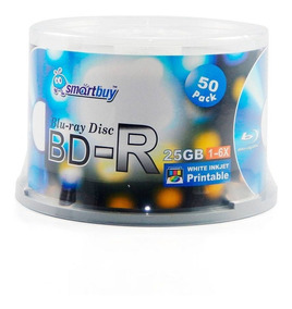 50 Mídias Smartbuy Blu-ray 25gb 6x Printable Bd-r Pino