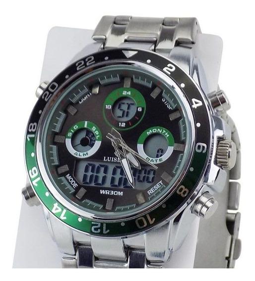 Relógio Masculino Grande Original Prata Cinza Prova De Água