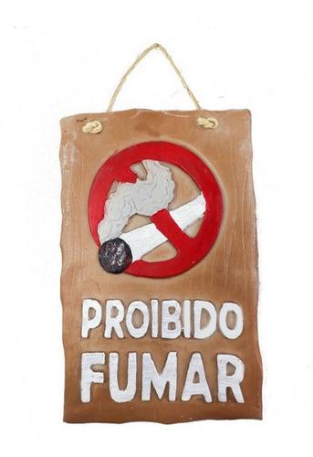 Imagem 1 de 5 de Placa Proibido Fumar Bege Em Resina