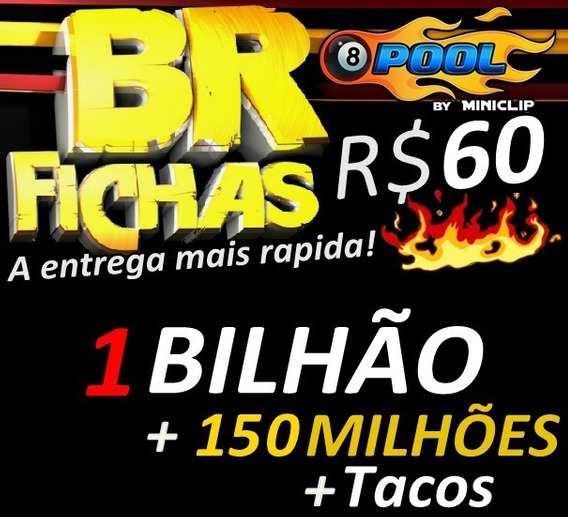 8 Ball Pool Fichas 1 Bilhão E 150m + Super Brinde + Tacos
