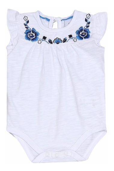 Body Tip Top Infantil Bordado Branco & Azul - G