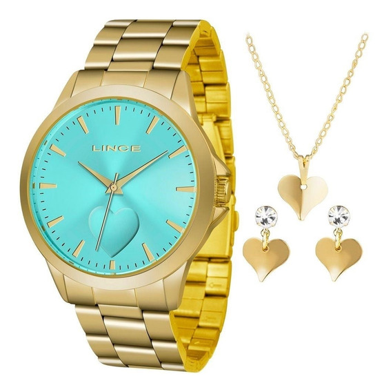 Kit Relógio Lince Feminino+gargantilha E Brinco Lrgj097lkw18