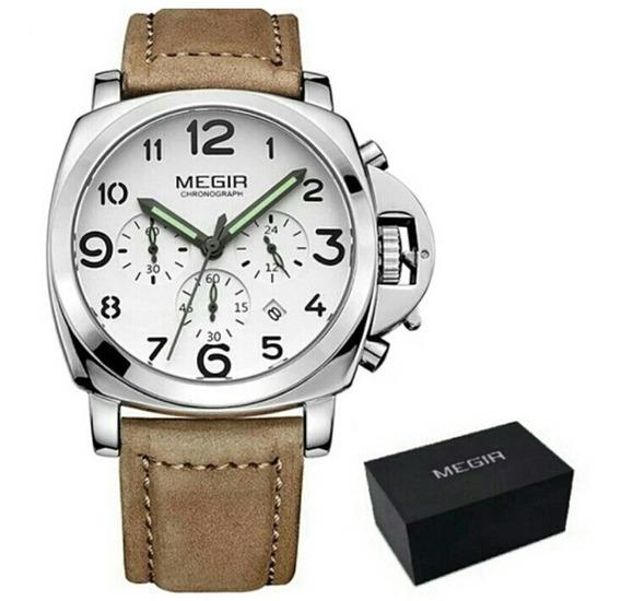 Relógio Megir 3406 Masculino Luxo Pulseira Couro Promoção!