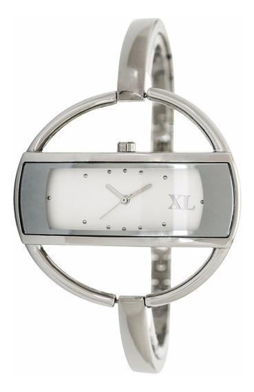 Reloj Xl Extra Large Moda Metal Dama Xl115 Blanco