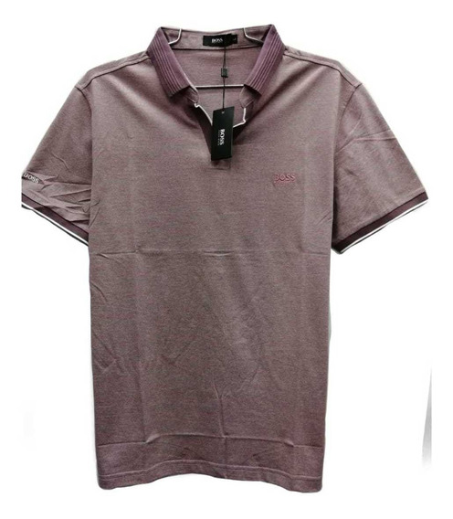 Playera Tipo Polo En V Color Lila Hugo Boss.