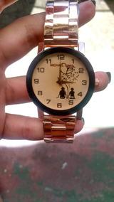 Relógio Feminino Fundo Bege De Coração Lindo Promoção