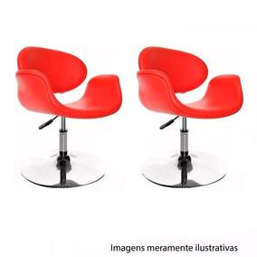 2 Poltronas Moderna Giratoria Vermelha Couro Et9105v Sala