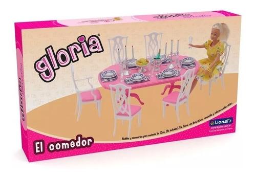 Comedor Gloria Para Barbie Con Platos Vasos Y Cubiertos