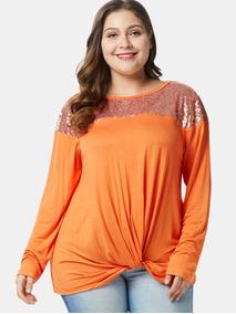 Camiseta De Talla Grande Con Lentejuelas En El Nudo Delanter