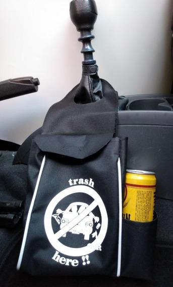 Lixinho Carro Lixo Luxo Preto Com Estampa E Porta-lata