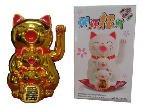 Imagen 1 de 1 de Feng Shui Gatos Luky Dorados Con Brazo Movil (nuevo)