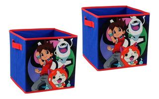 Set 2 Cajas De Tela Organizadores Decoracion Yo Kai Disney