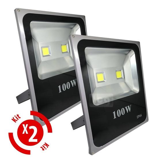 Refletor Holofote Super Led 100w Branco Frio Prova Dágua 2un