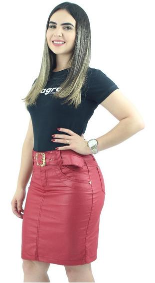 Kit Com 3 Saias Jeans Feminina Cintura Média Lycra
