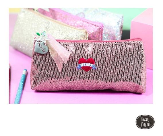 Cartuchera Glitter Brillos Con Corazón