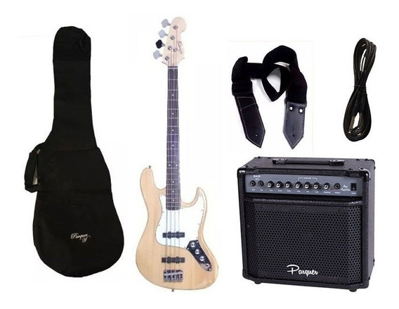 Combo Bajo Electrico Parquer Jazz Bass Natural Amplif Cuota