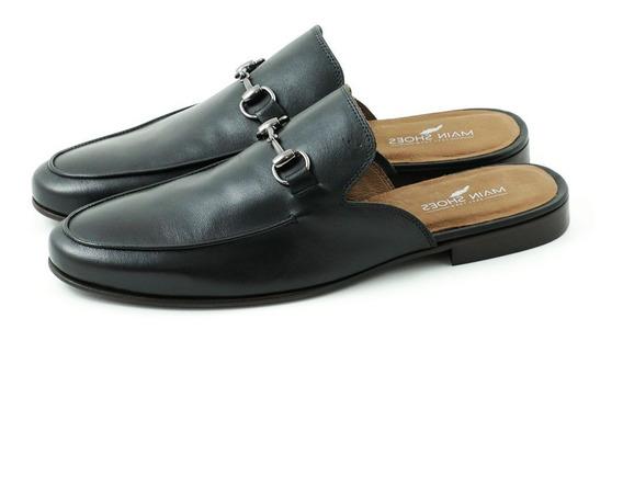Sapato Main Shoes Casual Mule Preto