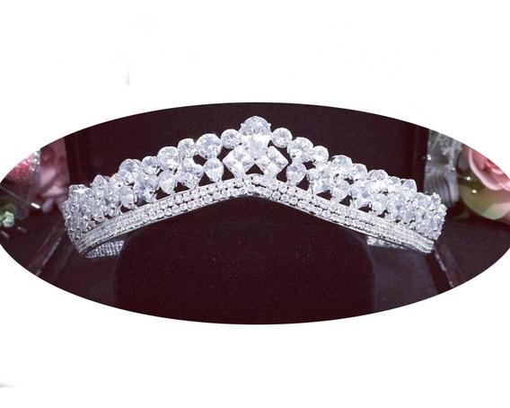 Coroa Tiara Coque Zirconia Noiva Debutante Prata Semi Joia