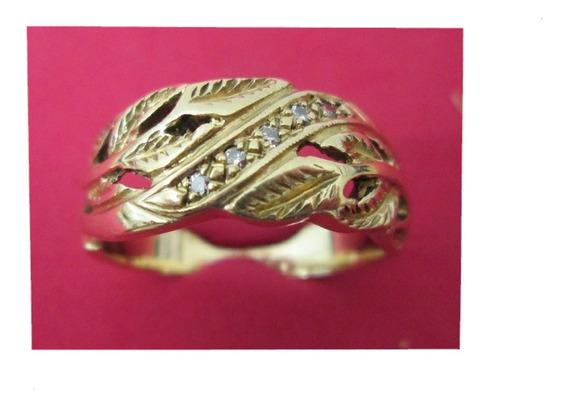 Anillo Caballero Argolla Rama Oro 14 Kilates Con Diamantes