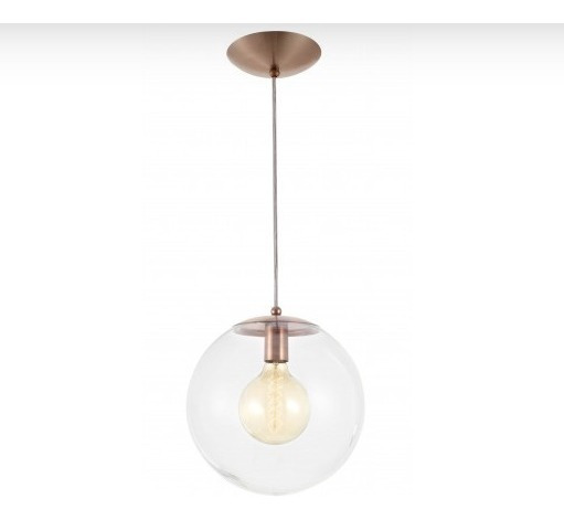 Pendente Esfera Transparente/cobre 20cm Mad(2784)