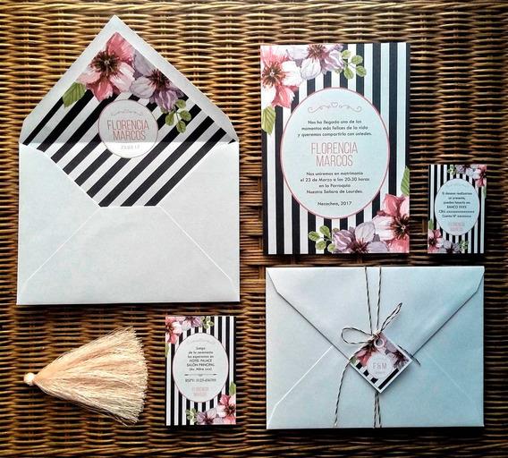 Combo 50 Invitaciones Sobre Forrado Estampado Envío Gratis