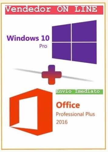 Licença Office 2016 + Windows 10 Pro Envio Na Mesma Hora