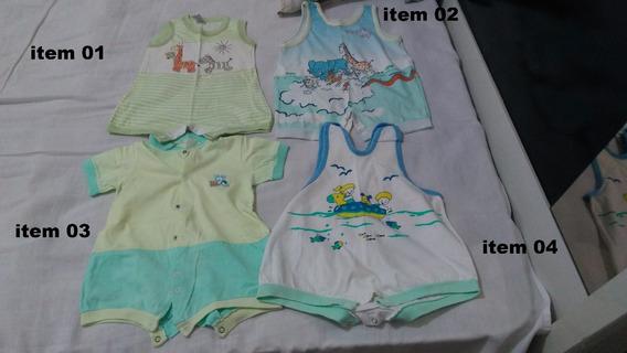 Lote Com 21 Macacão Manga Curta Regata Menino Infantil Bebê
