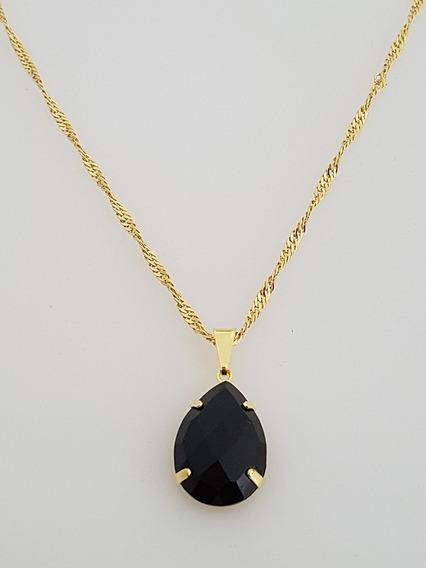 Pingente Cristal Negro + Gargantilha Banhada Ouro. C1p145