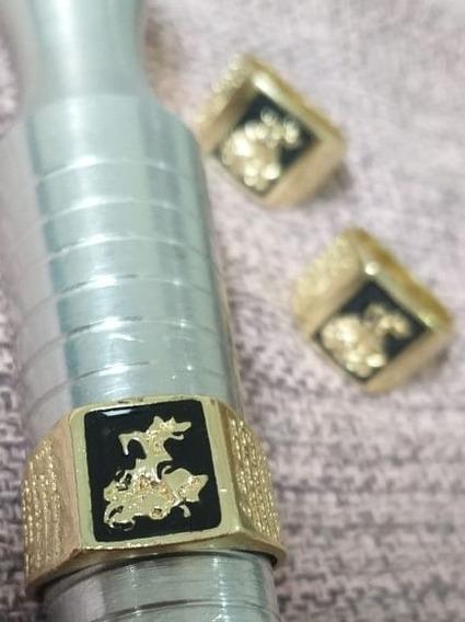 Anel De São Jorge Banhado A Ouro 18k Com Garantia Frete Grat