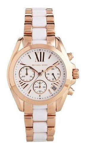 Relógio Luxo Mk5907 Original Gold Rosé White