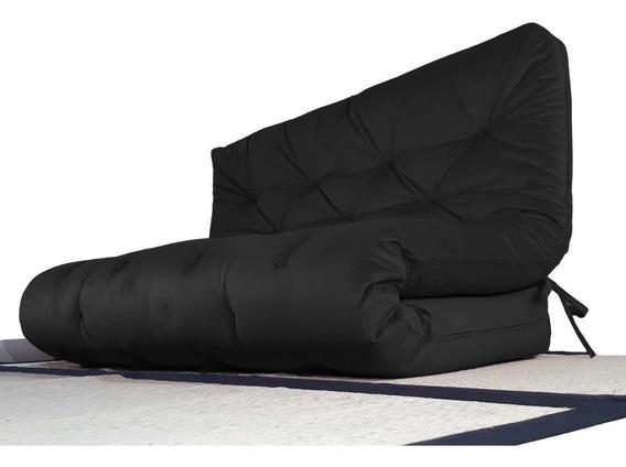 Futon Sofa Cama Casal Tendencia Oriental Preto